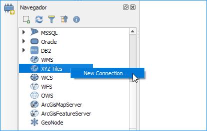 Clique com o botão direito sobre o recurso XYZ Tiles e crie uma nova conexão