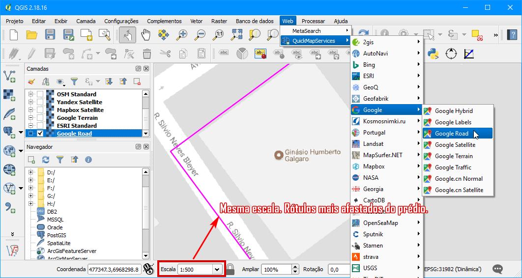 Escala 1:500 no QuickMapServices