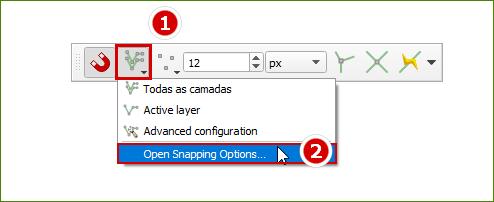 Acesse as opções de Ajuste do QGIS 3