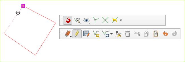 A tonalidade lilás é o indicativo de que o Ajuste ou Snapping no QGIS 3 está funcionando plenamente