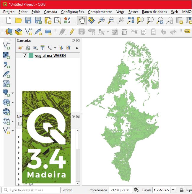 QGIS 3.4. Dados da vegetação para o estado do Maranhão-MA.